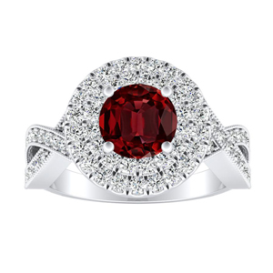 NATALIA Double Halo Ruby Engagement Ring In 14K White Gold With 0.30 Carat Round Stone