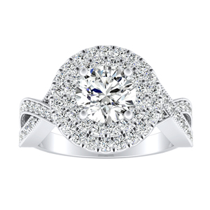 NATALIA Double Halo Moissanite Engagement Ring In 14K White Gold With 0.50 Carat Round Stone