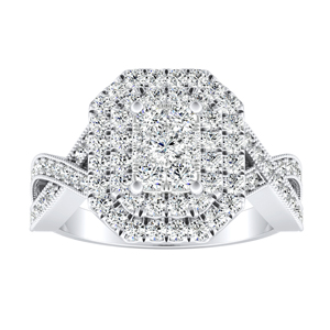 NATALIA Double Halo Diamond Engagement Ring In 14K White Gold With Radiant Diamond In H-I SI1-SI2 Quality