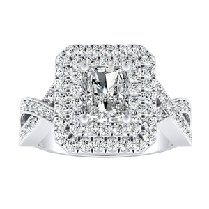 NATALIA Double Halo Diamond Engagement Ring In 14K White Gold