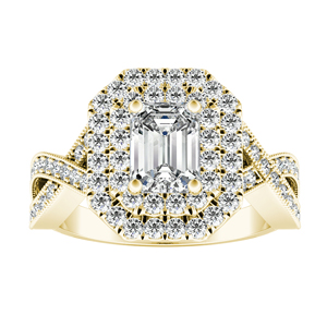 NATALIA Double Halo Diamond Engagement Ring In 14K Yellow Gold With 0.50ct. Emerald Diamond