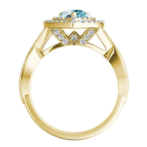 NATALIA  Double  Halo  Aquamarine  Engagement  Ring  In  14K  Yellow  Gold  With  1.00  Carat  Pear  Stone