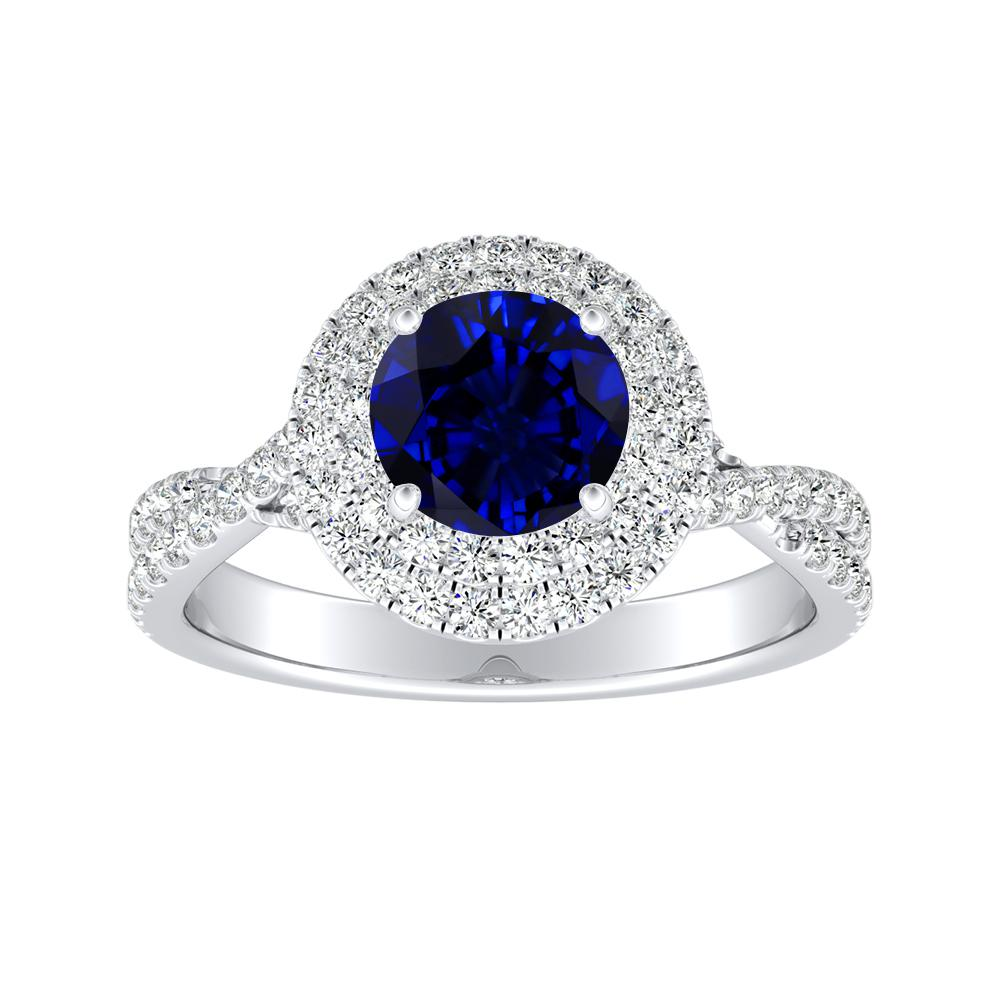 QUINN Halo Blue Sapphire Engagement Ring In 14K White Gold With 0.30 Carat Round Stone