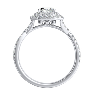 QUINN Halo Diamond Engagement Ring In 14K White Gold