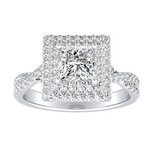 QUINN Halo Diamond Engagement Ring In 14K White Gold