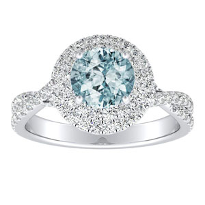 QUINN Halo Aquamarine Engagement Ring In 14K White Gold With 1.00 Carat Round Stone