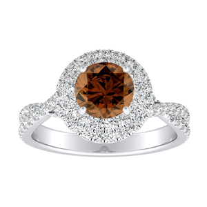 QUINN Halo Brown Diamond Engagement Ring In 14K White Gold With 0.30 Carat Round Diamond