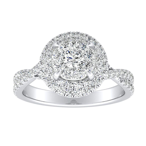 QUINN Halo Diamond Engagement Ring In 14K White Gold With Round Diamond In H-I SI1-SI2 Quality