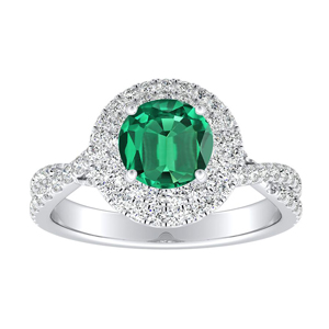 QUINN Halo Green Emerald Engagement Ring In 14K White Gold With 0.30 Carat Round Stone
