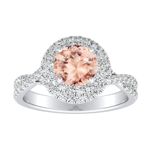 QUINN Halo Morganite Engagement Ring In 14K White Gold With 1.00 Carat Round Stone