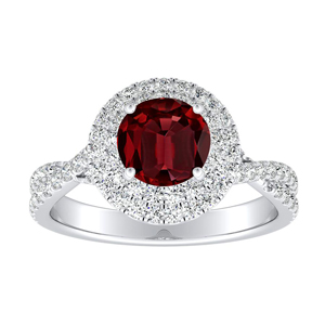 QUINN Halo Ruby Engagement Ring In 14K White Gold With 0.30 Carat Round Stone