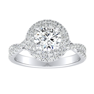 QUINN Halo Moissanite Engagement Ring In 14K White Gold With 0.50 Carat Round Stone