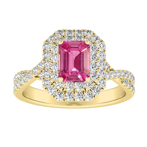 QUINN Halo Pink Sapphire Engagement Ring In 14K Yellow Gold With 1.00 Carat Emerald Stone