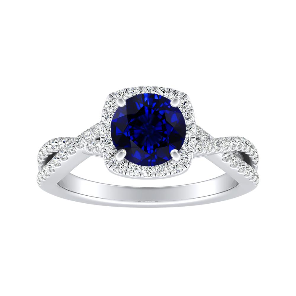 TAYLOR Halo Blue Sapphire Engagement Ring In 14K White Gold With 0.30 Carat Round Stone