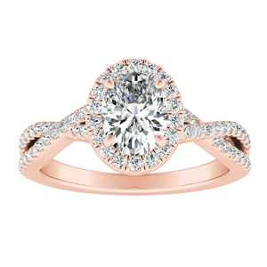 TAYLOR Halo Diamond Engagement Ring In 14K Rose Gold With 0.50ct. Oval Diamond