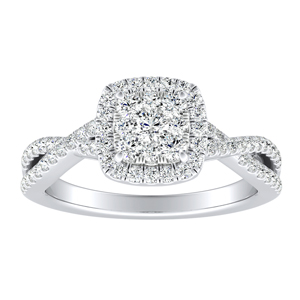 TAYLOR Halo Diamond Engagement Ring In 14K White Gold With Cushion Diamond In H-I SI1-SI2 Quality