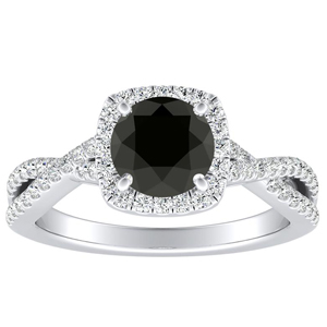 TAYLOR Halo Black Diamond Engagement Ring In 14K White Gold With 0.50 Carat Round Diamond
