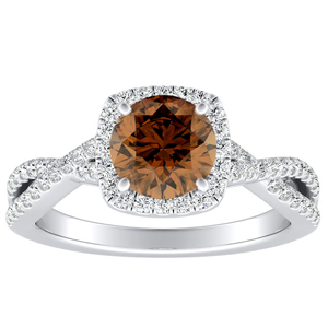 TAYLOR Halo Brown Diamond Engagement Ring In 14K White Gold With 0.30 Carat Round Diamond