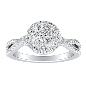 TAYLOR Halo Diamond Engagement Ring In 14K White Gold With Round Diamond In H-I SI1-SI2 Quality