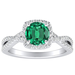TAYLOR Halo Green Emerald Engagement Ring In 14K White Gold With 0.30 Carat Round Stone