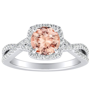 TAYLOR Halo Morganite Engagement Ring In 14K White Gold With 1.00 Carat Round Stone