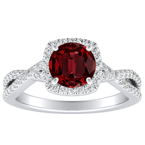 TAYLOR Halo Ruby Engagement Ring In 14K White Gold With 0.30 Carat Round Stone