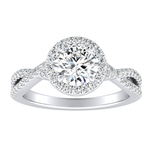 TAYLOR Halo Moissanite Engagement Ring In 14K White Gold With 0.50 Carat Round Stone