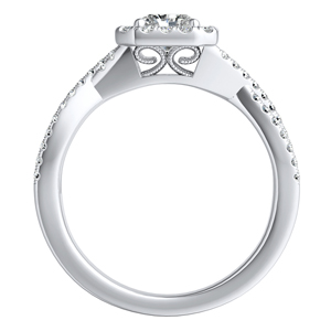 TAYLOR Halo Diamond Engagement Ring In 14K White Gold