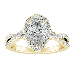 TAYLOR Halo Diamond Engagement Ring In 14K Yellow Gold With 0.50ct. Pear Diamond