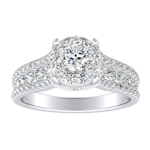 CAROLINE Diamond Engagement Ring In 14K White Gold With Round Diamond In H-I SI1-SI2 Quality