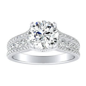 CAROLINE Moissanite Engagement Ring In 14K White Gold With 0.50 Carat Round Stone