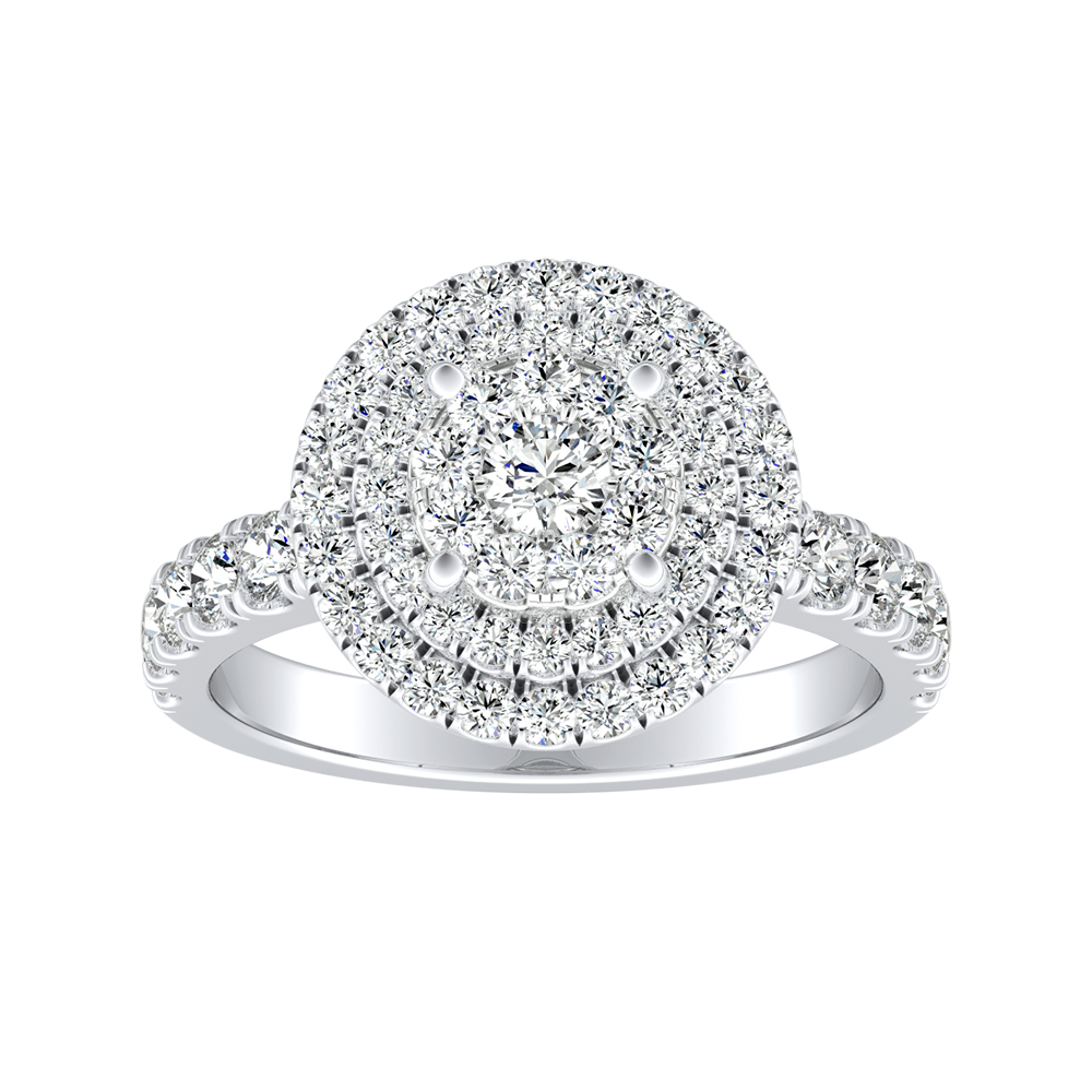 KYLIE Double Halo Diamond Engagement Ring In 14K White Gold With Round Diamond In H-I SI1-SI2 Quality