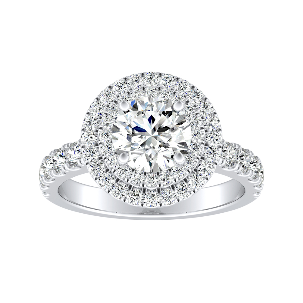 KYLIE Double Halo Diamond Engagement Ring In 18K White Gold