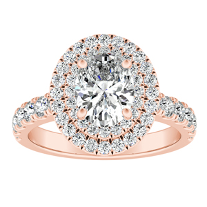 KYLIE Double Halo Diamond Engagement Ring In 14K Rose Gold
