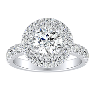 KYLIE Double Halo Diamond Engagement Ring In 14K White Gold With 0.50ct. Round Diamond