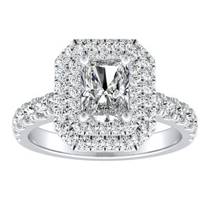 KYLIE Double Halo Diamond Engagement Ring In 14K White Gold