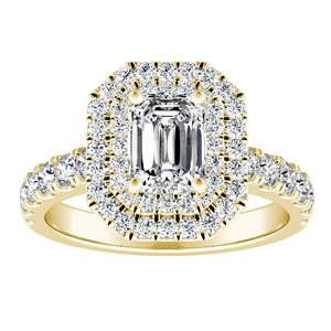 KYLIE Double Halo Diamond Engagement Ring In 14K Yellow Gold