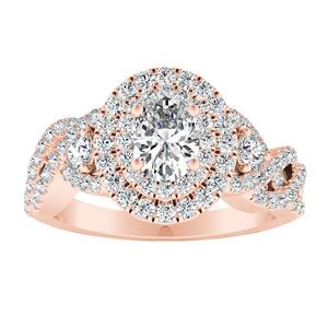 LAUREN Halo Diamond Engagement Ring In 14K Rose Gold