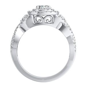 LAUREN Halo Diamond Engagement Ring In 14K White Gold