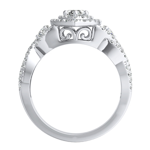 LAUREN Halo Diamond Engagement Ring In 14K White Gold