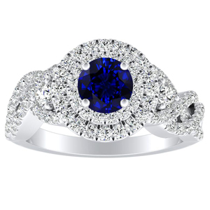 LAUREN Halo Blue Sapphire Engagement Ring In 14K White Gold With 0.30 Carat Round Stone