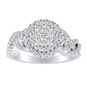 LAUREN Halo Diamond Engagement Ring In 14K White Gold With Round Diamond In H-I SI1-SI2 Quality