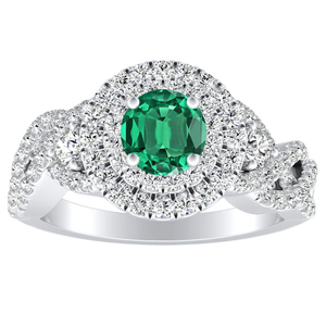 LAUREN Halo Green Emerald Engagement Ring In 14K White Gold With 0.30 Carat Round Stone