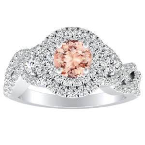 LAUREN Halo Morganite Engagement Ring In 14K White Gold With 1.00 Carat Round Stone