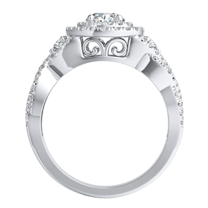 LAUREN Halo Diamond Engagement Ring In 14K White Gold With 0.50ct. Round Diamond