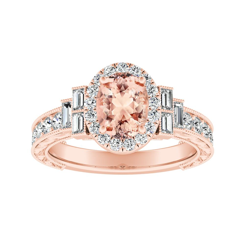 KAYLA Vintage Halo Morganite Engagement Ring In 14K Rose Gold With 1.00 Carat Oval Stone
