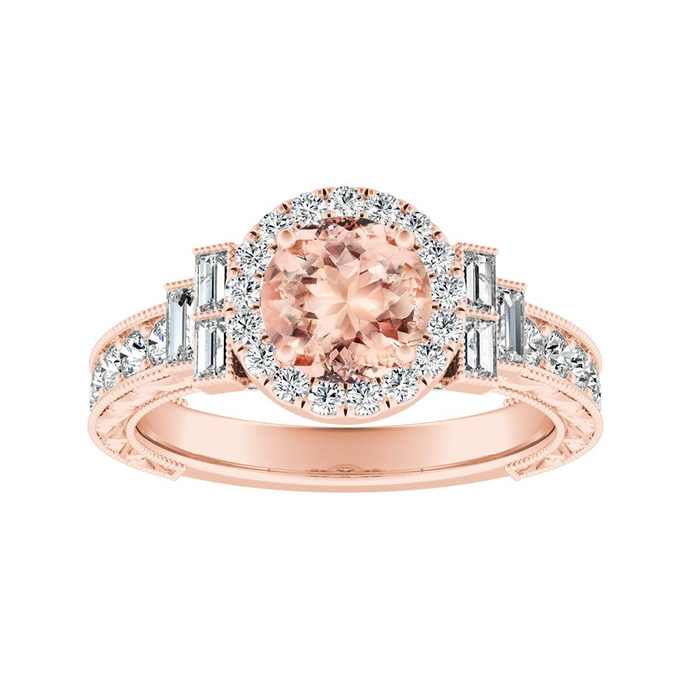 KAYLA Vintage Halo Morganite Engagement Ring In 14K Rose Gold With 4.00 Carat Round Stone