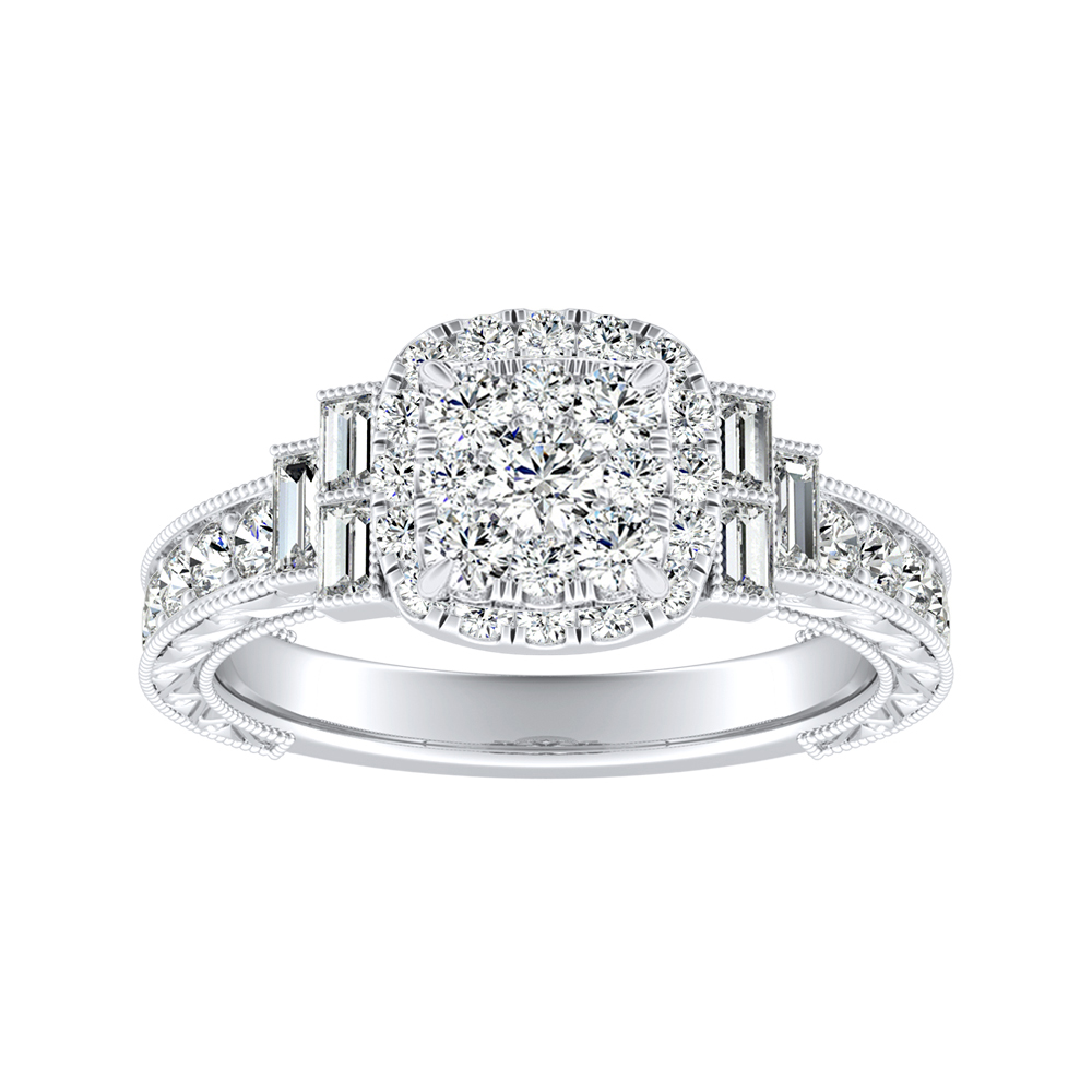 KAYLA Halo Diamond Engagement Ring In 14K White Gold With Cushion Diamond In H-I SI1-SI2 Quality