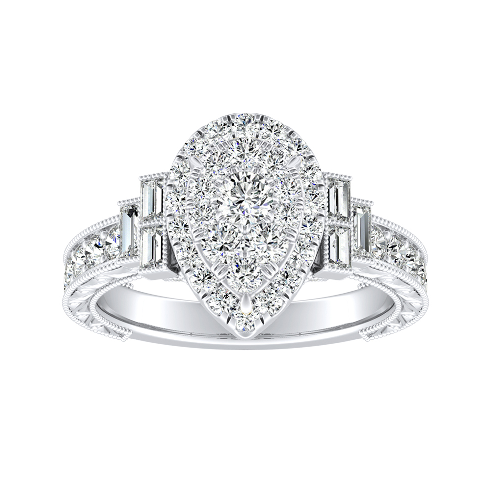 KAYLA Halo Diamond Engagement Ring In 14K White Gold With Pear Diamond In H-I SI1-SI2 Quality