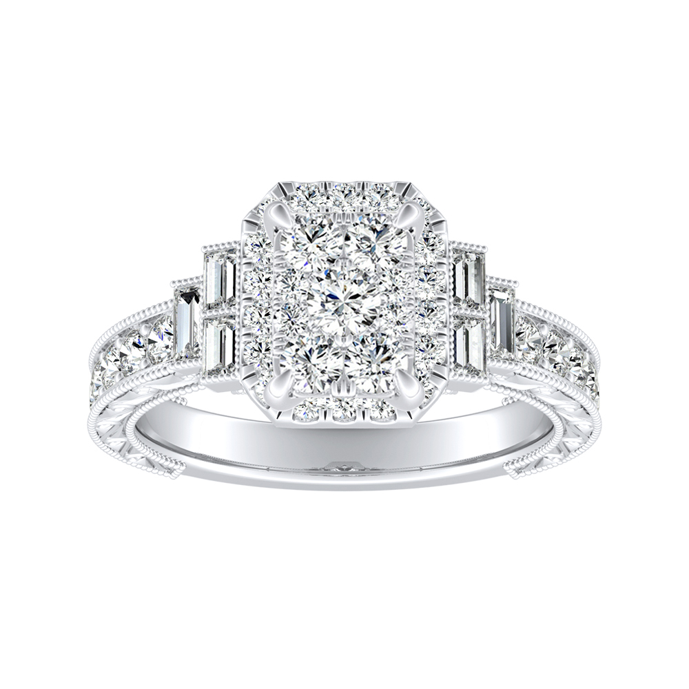 KAYLA Halo Diamond Engagement Ring In 14K White Gold With Radiant Diamond In H-I SI1-SI2 Quality